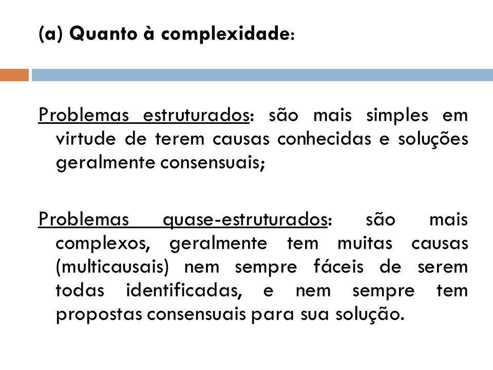 (a) Quanto à complexidade: