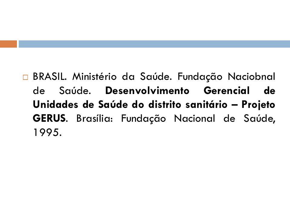 BRASIL. Ministério da Saúde. Fundação Naciobnal de Saúde