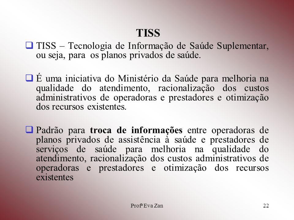 TISS TISS – Tecnologia de Informação de Saúde Suplementar, ou seja, para os planos privados de saúde.