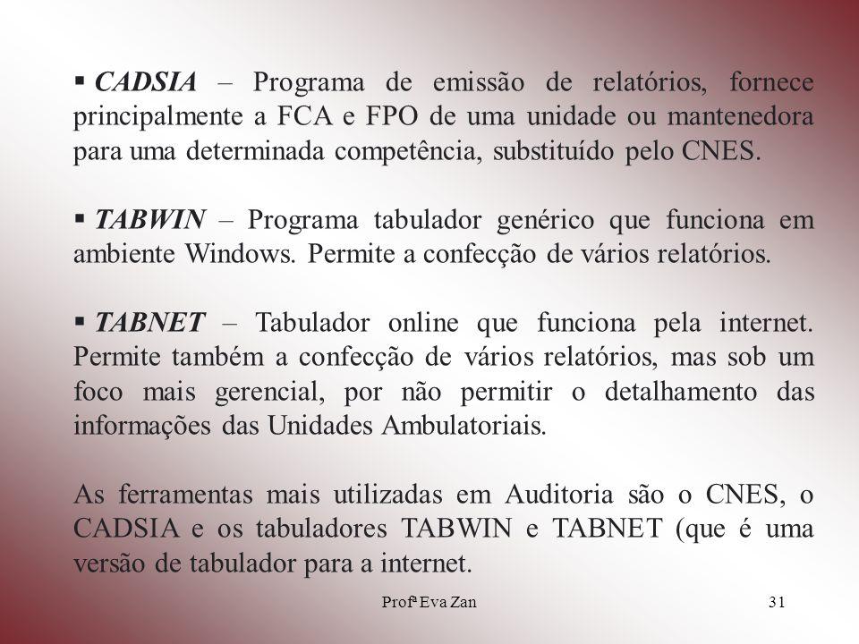 CADSIA – Programa de emissão de relatórios, fornece principalmente a FCA e FPO de uma unidade ou mantenedora para uma determinada competência, substituído pelo CNES.