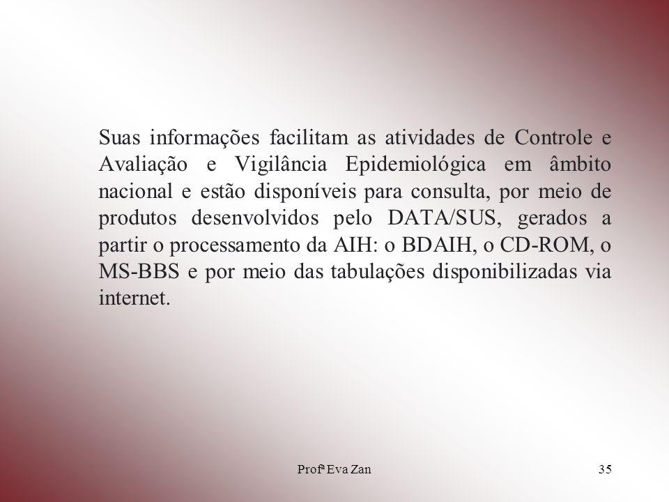 Suas informações facilitam as atividades de Controle e Avaliação e Vigilância Epidemiológica em âmbito nacional e estão disponíveis para consulta, por meio de produtos desenvolvidos pelo DATA/SUS, gerados a partir o processamento da AIH: o BDAIH, o CD-ROM, o MS-BBS e por meio das tabulações disponibilizadas via internet.