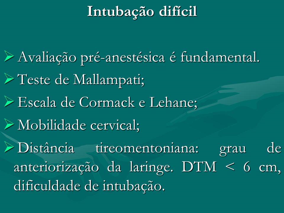 Intubação difícil Avaliação pré-anestésica é fundamental. Teste de Mallampati; Escala de Cormack e Lehane;