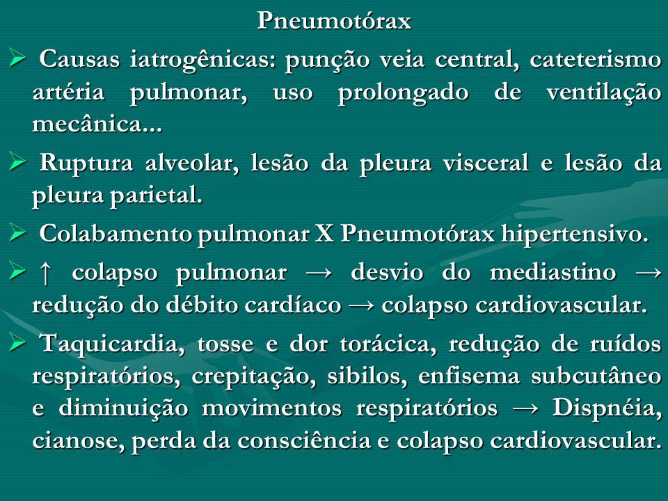 Pneumotórax Causas iatrogênicas: punção veia central, cateterismo artéria pulmonar, uso prolongado de ventilação mecânica...