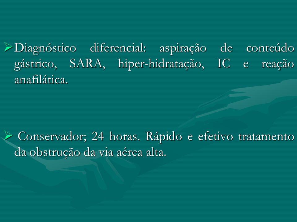 Diagnóstico diferencial: aspiração de conteúdo gástrico, SARA, hiper-hidratação, IC e reação anafilática.