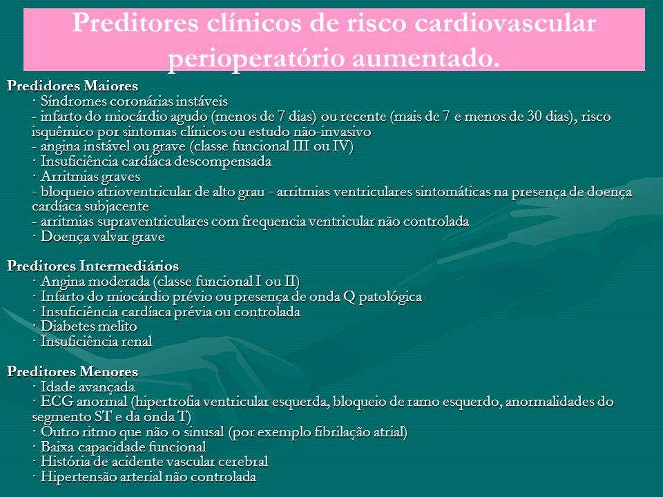 Preditores clínicos de risco cardiovascular perioperatório aumentado.