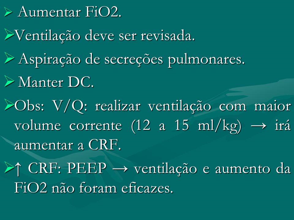 Ventilação deve ser revisada. Aspiração de secreções pulmonares.