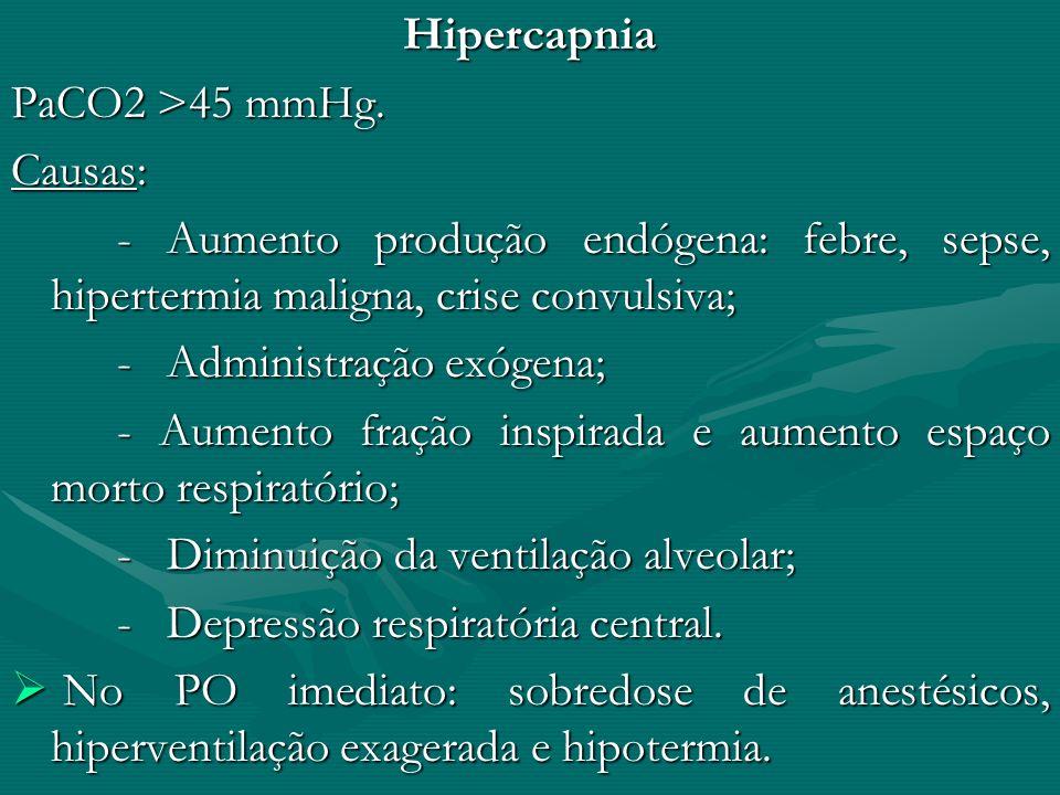 Hipercapnia PaCO2 >45 mmHg. Causas: - Aumento produção endógena: febre, sepse, hipertermia maligna, crise convulsiva;