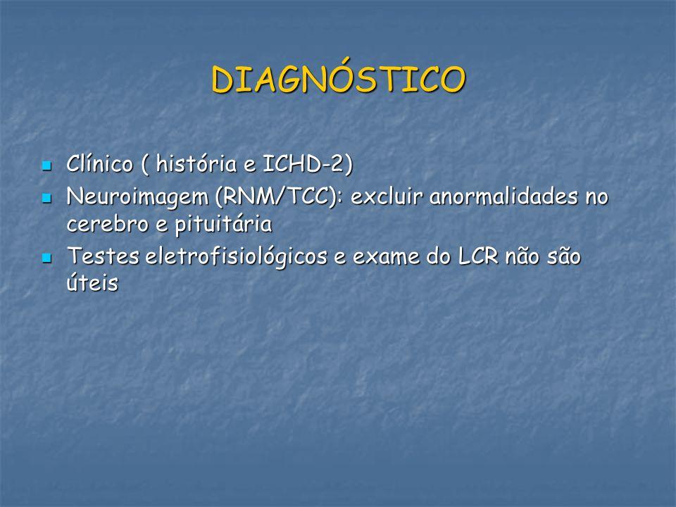 DIAGNÓSTICO Clínico ( história e ICHD-2)