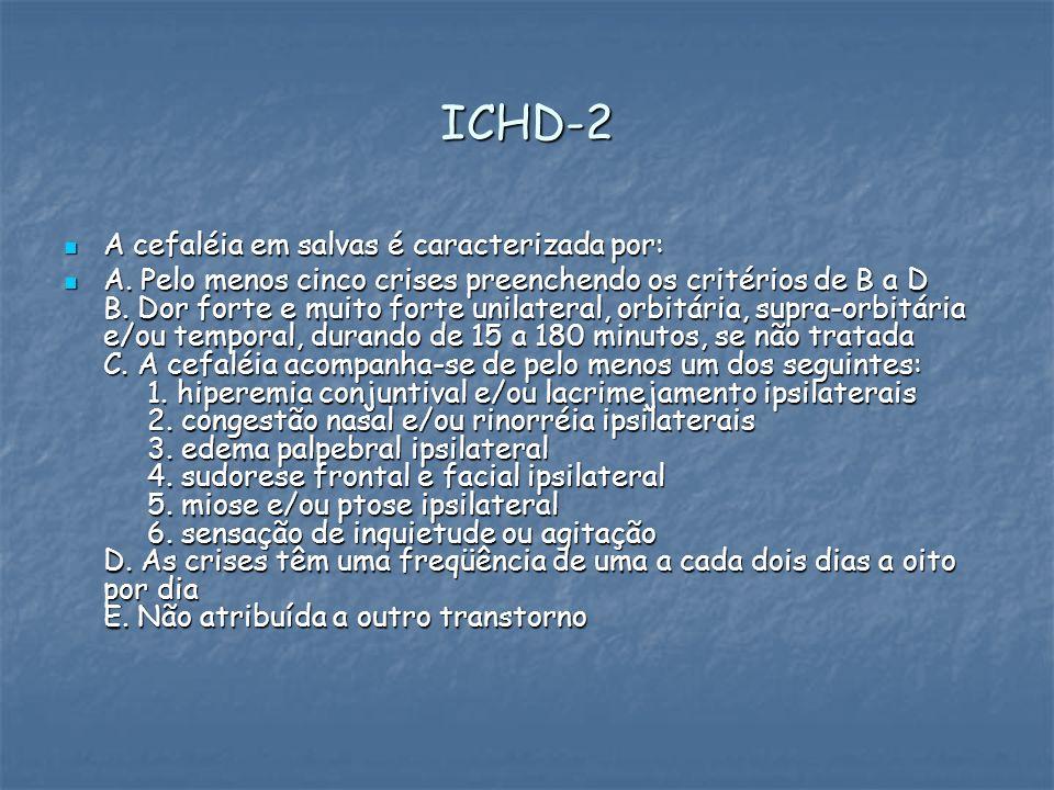 ICHD-2 A cefaléia em salvas é caracterizada por:
