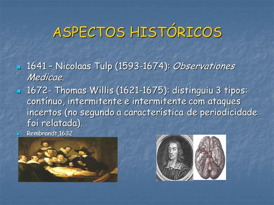 ASPECTOS HISTÓRICOS 1641 – Nicolaas Tulp (1593-1674): Observationes Medicae.