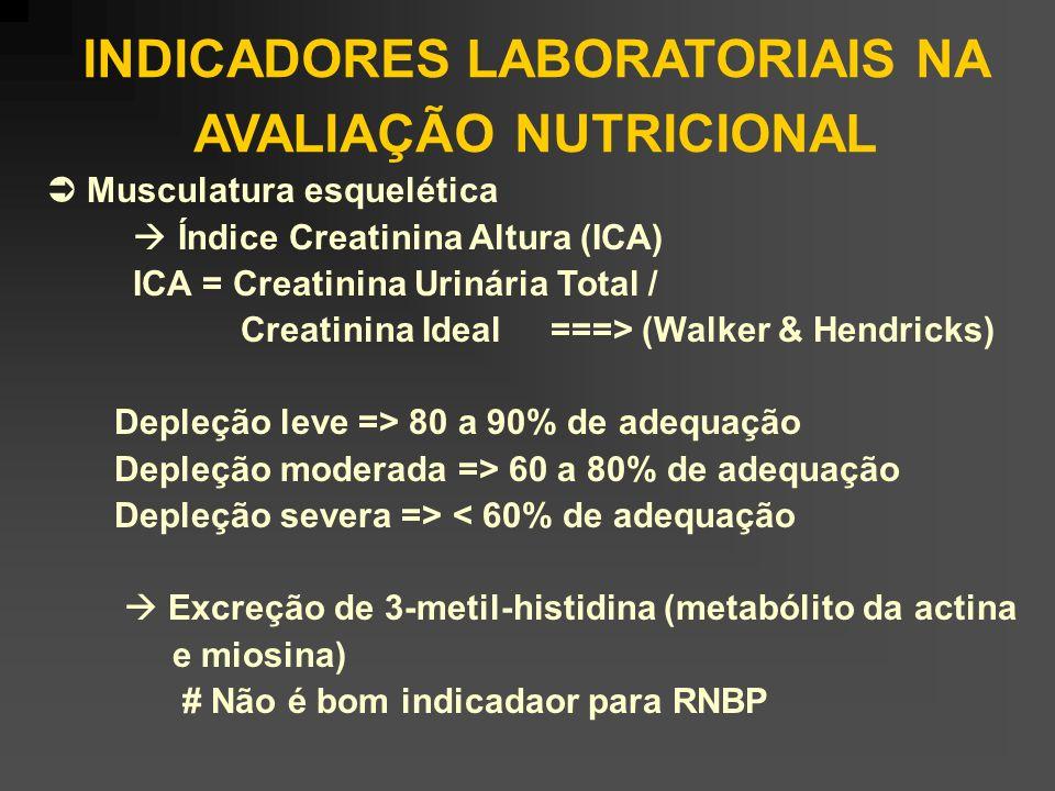 INDICADORES LABORATORIAIS NA AVALIAÇÃO NUTRICIONAL