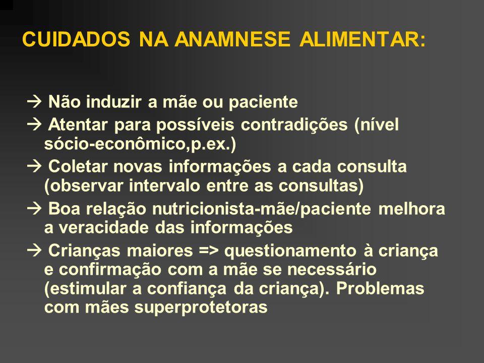 CUIDADOS NA ANAMNESE ALIMENTAR: