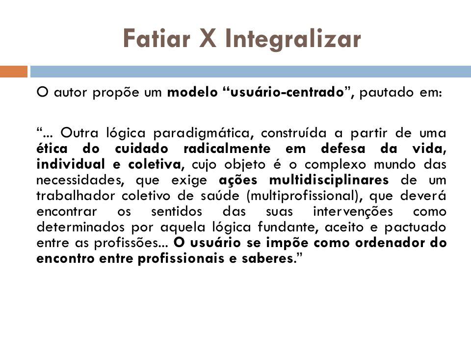 Fatiar X Integralizar O autor propõe um modelo usuário-centrado , pautado em: