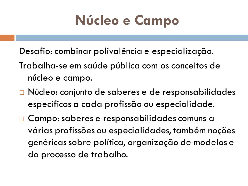 Núcleo e Campo Desafio: combinar polivalência e especialização.