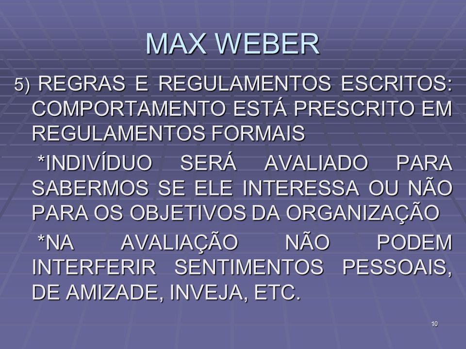 MAX WEBER5) REGRAS E REGULAMENTOS ESCRITOS: COMPORTAMENTO ESTÁ PRESCRITO EM REGULAMENTOS FORMAIS.