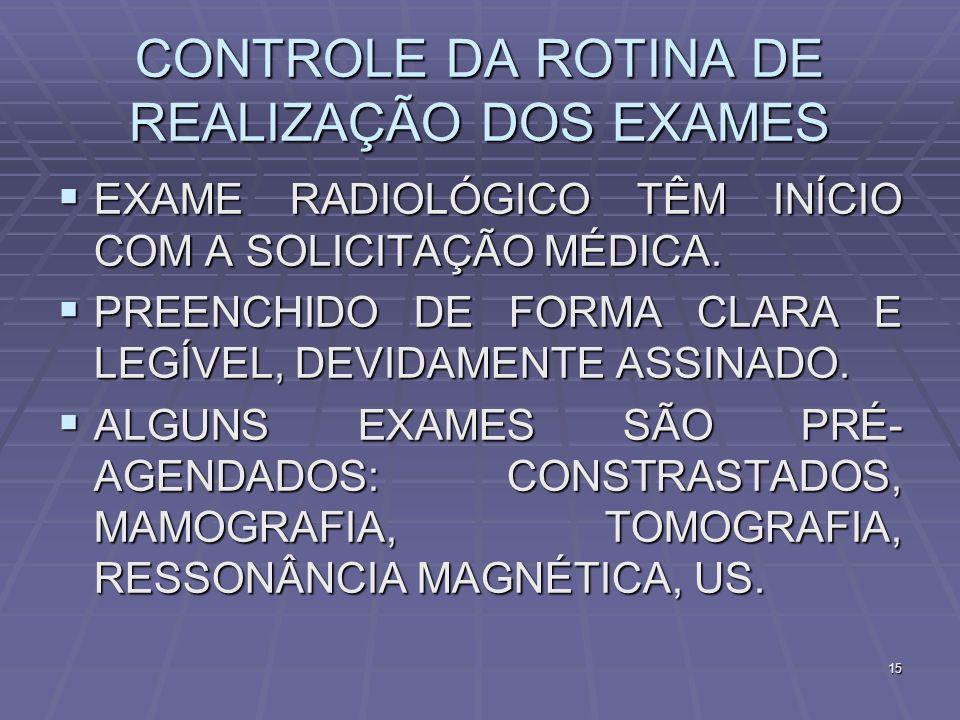 CONTROLE DA ROTINA DE REALIZAÇÃO DOS EXAMES