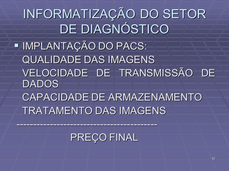 INFORMATIZAÇÃO DO SETOR DE DIAGNÓSTICO