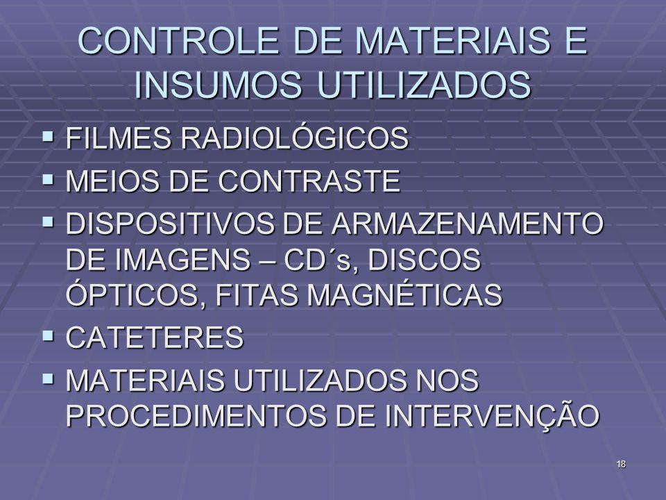 CONTROLE DE MATERIAIS E INSUMOS UTILIZADOS