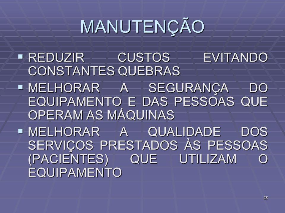 MANUTENÇÃO REDUZIR CUSTOS EVITANDO CONSTANTES QUEBRAS