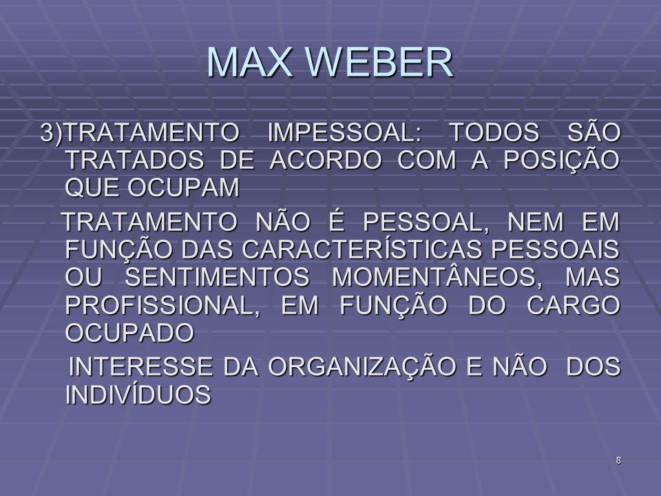 MAX WEBER3)TRATAMENTO IMPESSOAL: TODOS SÃO TRATADOS DE ACORDO COM A POSIÇÃO QUE OCUPAM.