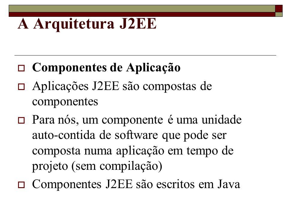 A Arquitetura J2EE Componentes de Aplicação