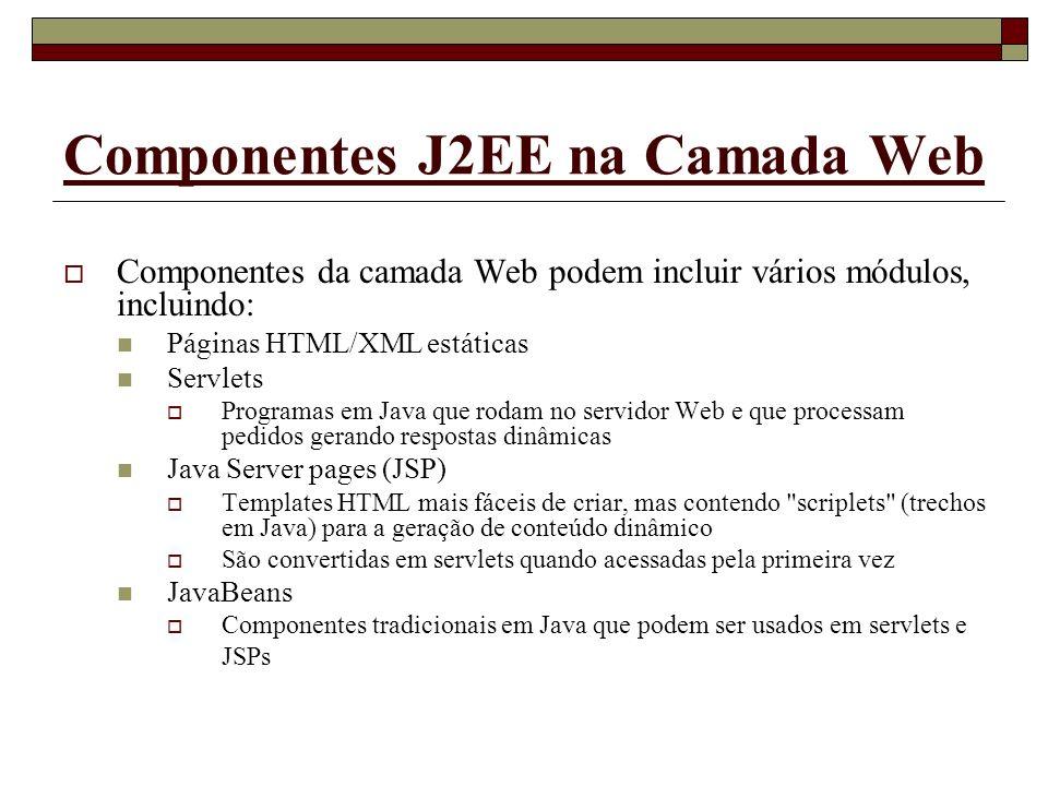 Componentes J2EE na Camada Web