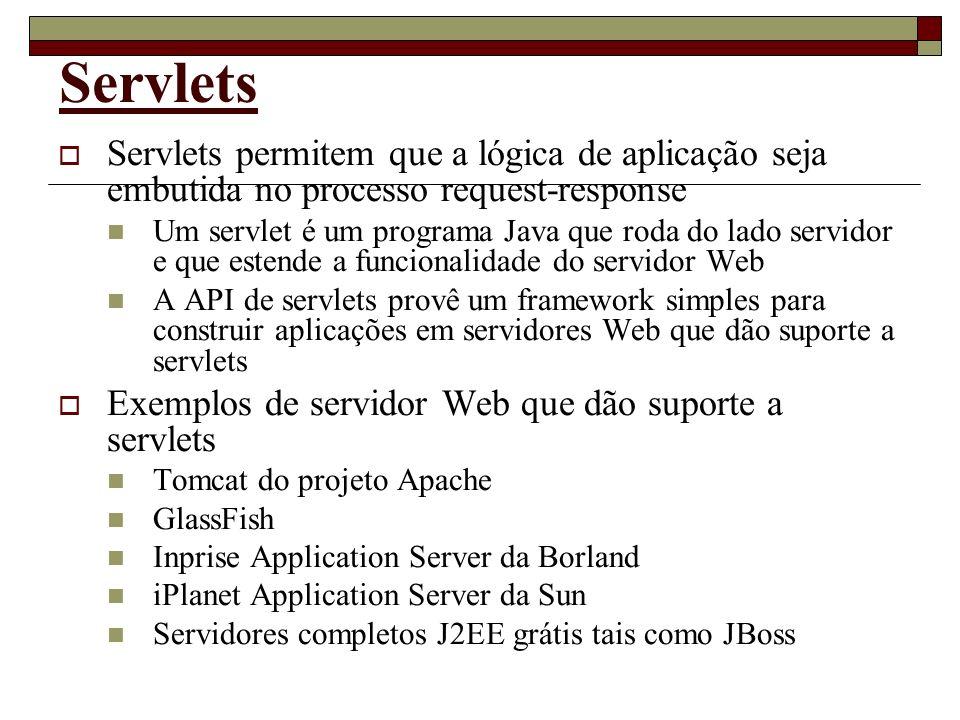 Servlets Servlets permitem que a lógica de aplicação seja embutida no processo request-response.