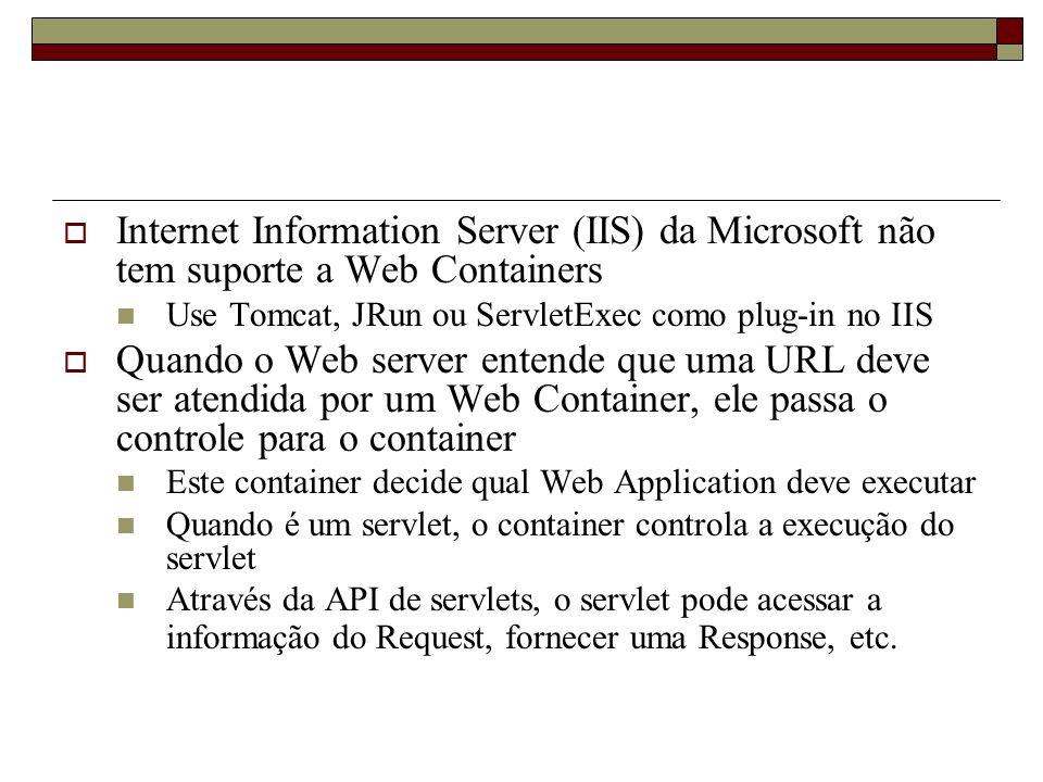 Internet Information Server (IIS) da Microsoft não tem suporte a Web Containers