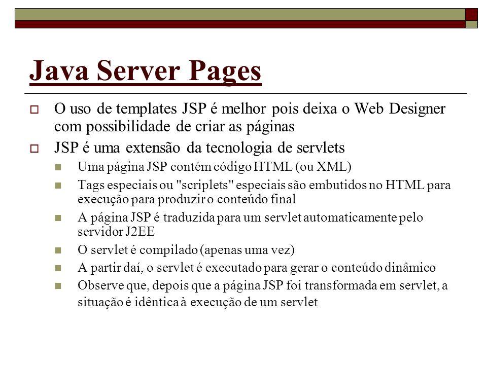 Java Server Pages O uso de templates JSP é melhor pois deixa o Web Designer com possibilidade de criar as páginas.