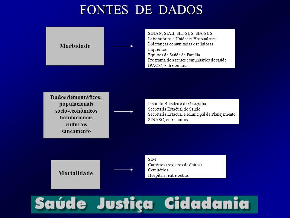 FONTES DE DADOS Morbidade Mortalidade Dados demográficos: