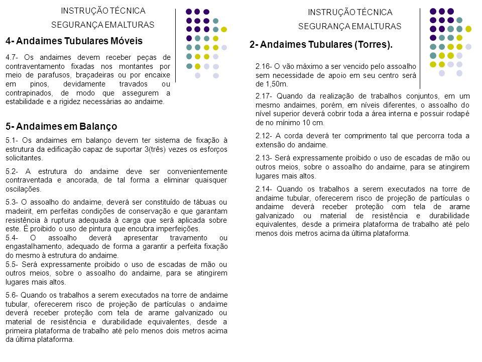 4- Andaimes Tubulares Móveis 2- Andaimes Tubulares (Torres).
