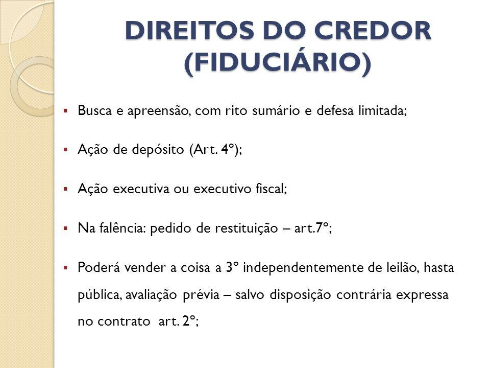 DIREITOS DO CREDOR (FIDUCIÁRIO)