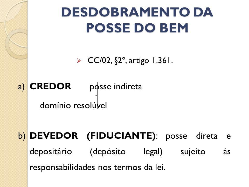 DESDOBRAMENTO DA POSSE DO BEM