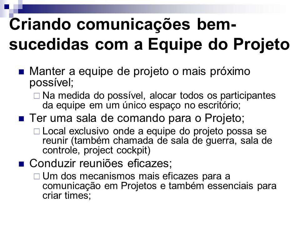 Criando comunicações bem-sucedidas com a Equipe do Projeto