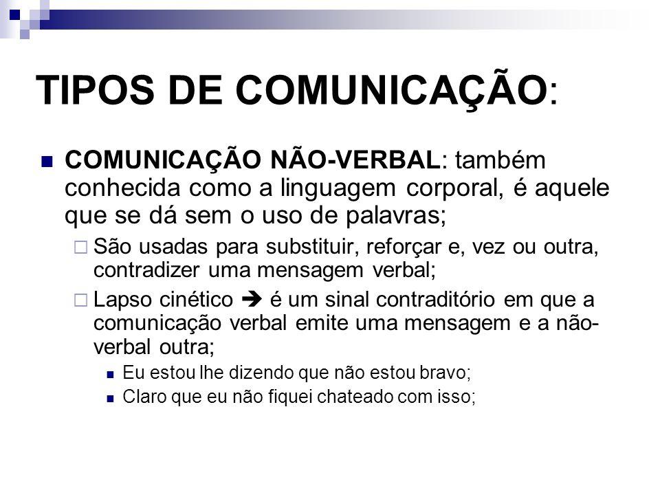 TIPOS DE COMUNICAÇÃO: COMUNICAÇÃO NÃO-VERBAL: também conhecida como a linguagem corporal, é aquele que se dá sem o uso de palavras;