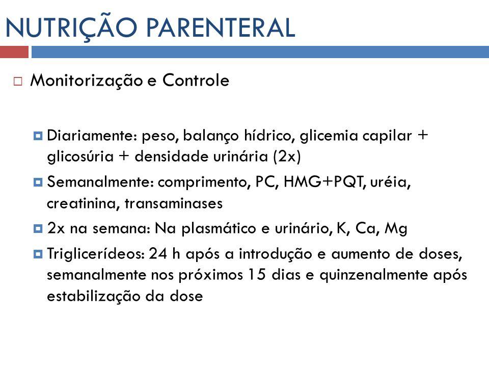 NUTRIÇÃO PARENTERAL Monitorização e Controle