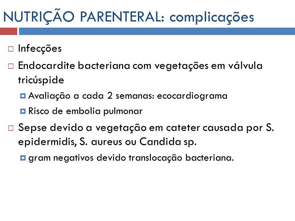 NUTRIÇÃO PARENTERAL: complicações