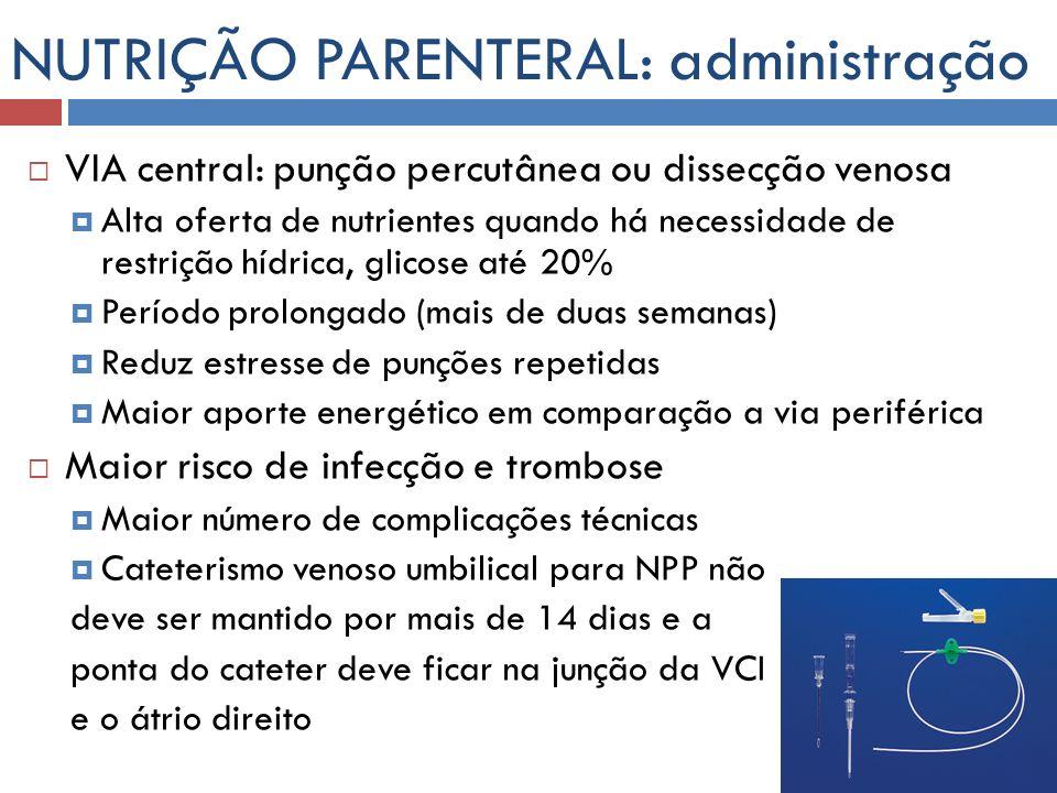 NUTRIÇÃO PARENTERAL: administração