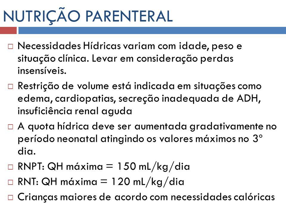 NUTRIÇÃO PARENTERAL Necessidades Hídricas variam com idade, peso e situação clínica. Levar em consideração perdas insensíveis.