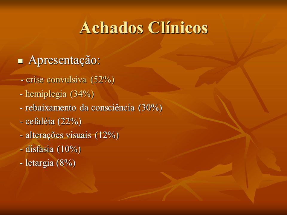 Achados Clínicos Apresentação: - crise convulsiva (52%)