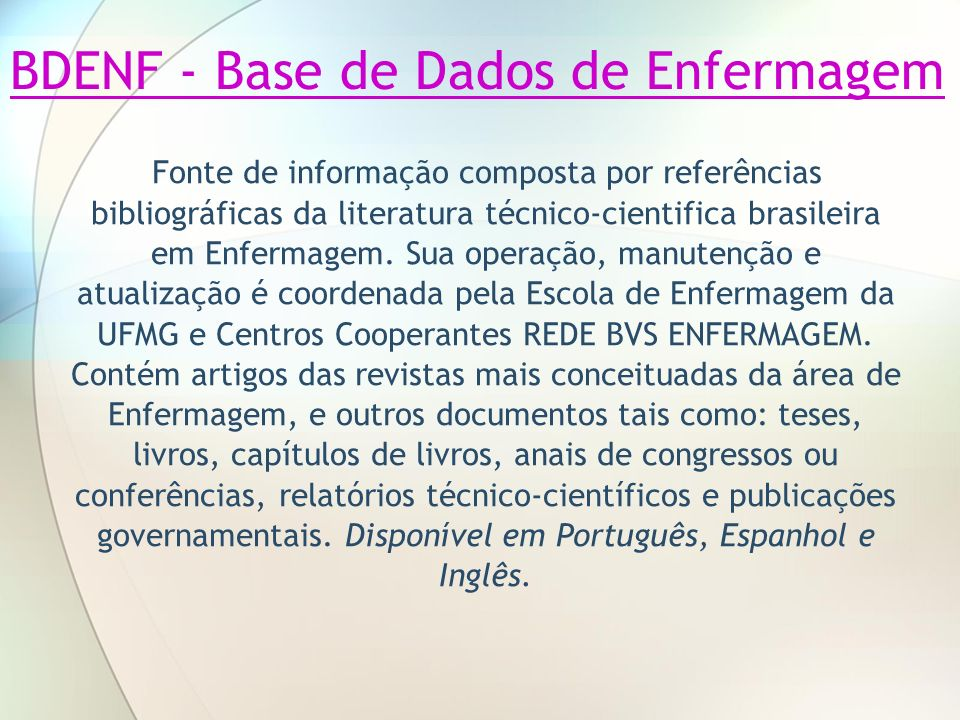 BDENF - Base de Dados de Enfermagem