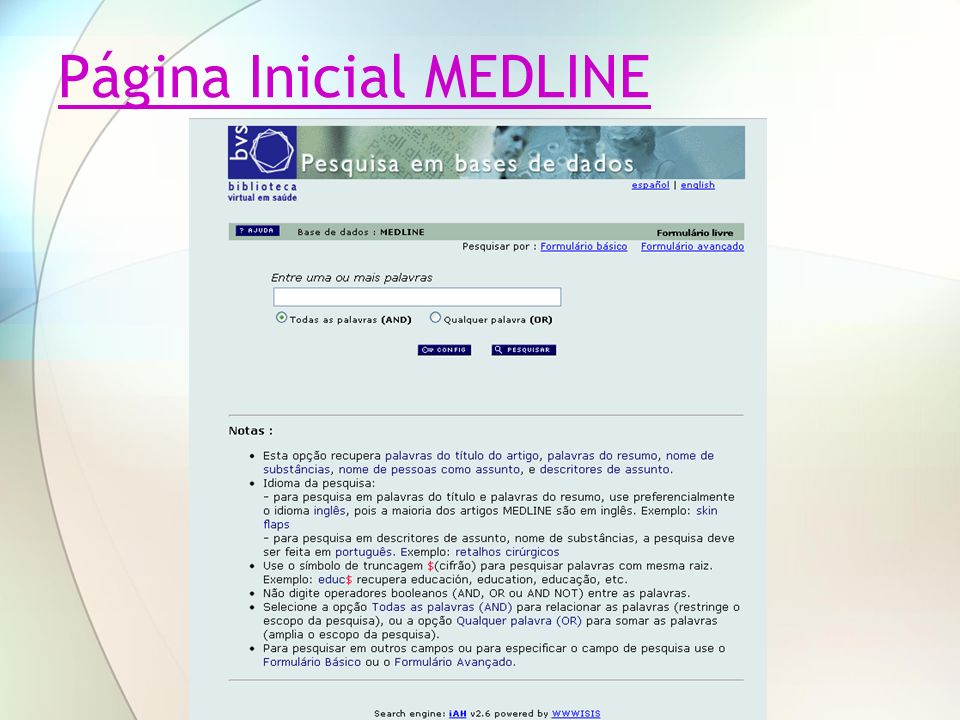 Página Inicial MEDLINE