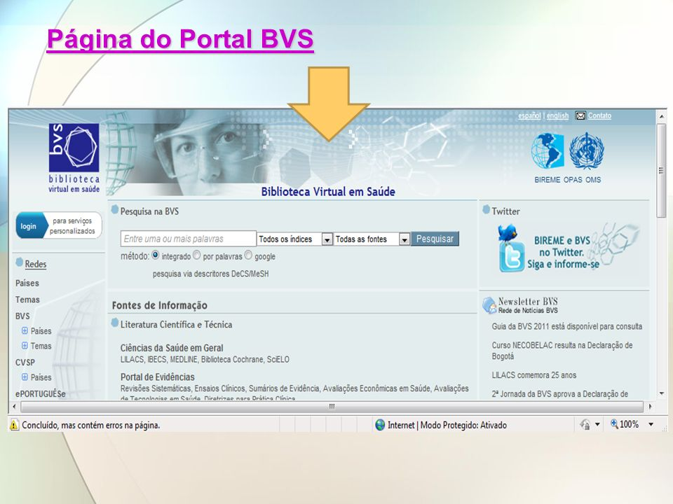 Página do Portal BVS