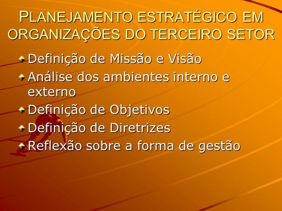 PLANEJAMENTO ESTRATÉGICO EM ORGANIZAÇÕES DO TERCEIRO SETOR