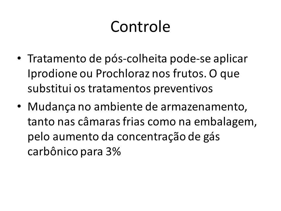 Controle Tratamento de pós-colheita pode-se aplicar Iprodione ou Prochloraz nos frutos. O que substitui os tratamentos preventivos.