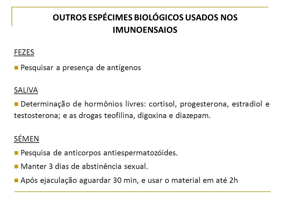 OUTROS ESPÉCIMES BIOLÓGICOS USADOS NOS IMUNOENSAIOS