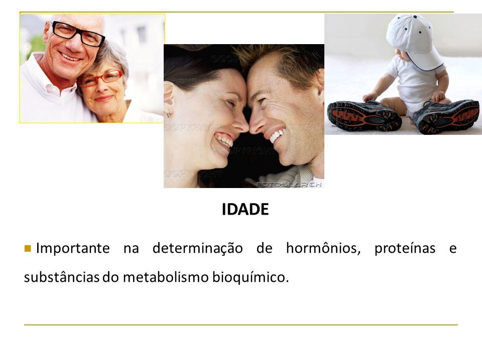 IDADE Importante na determinação de hormônios, proteínas e substâncias do metabolismo bioquímico.