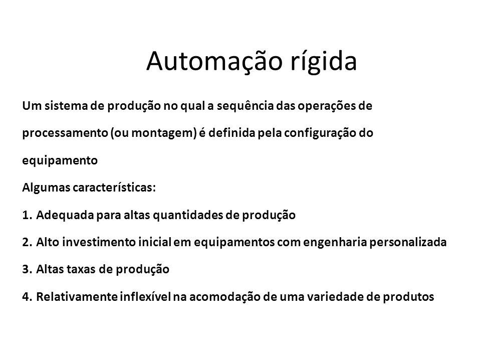 Automação rígidaUm sistema de produção no qual a sequência das operações de. processamento (ou montagem) é definida pela configuração do.