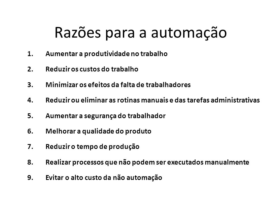 Razões para a automação