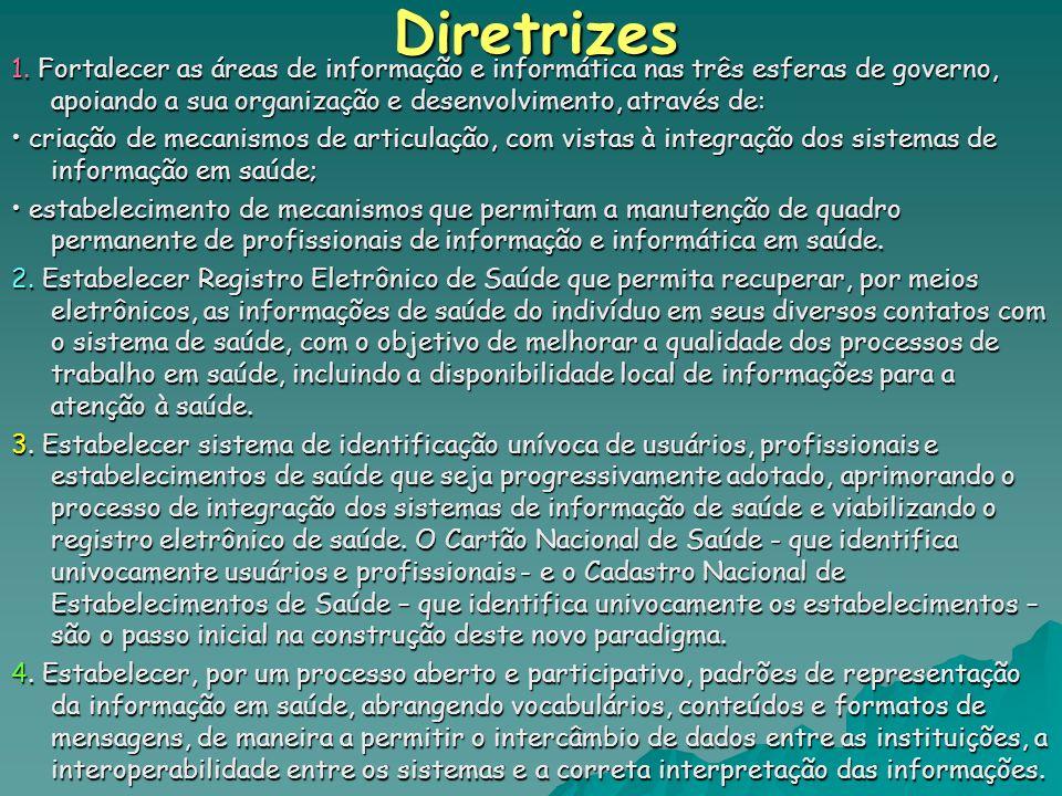 Diretrizes1. Fortalecer as áreas de informação e informática nas três esferas de governo, apoiando a sua organização e desenvolvimento, através de: